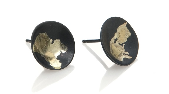 Iris Guy Black and Gold Moon Earrings
